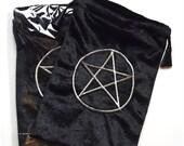 Black Velvet Tarot/Angel Card Bag - Silver Pentacle