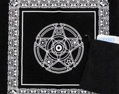Large Velveteen Reading Cloth Pentagram (49 X 49 Cm) + Tarot Card Bag Set