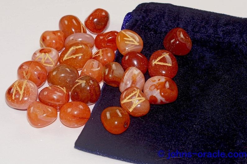 Carnelian Crystal Rune Stones with Purple Velvet Bag image 0