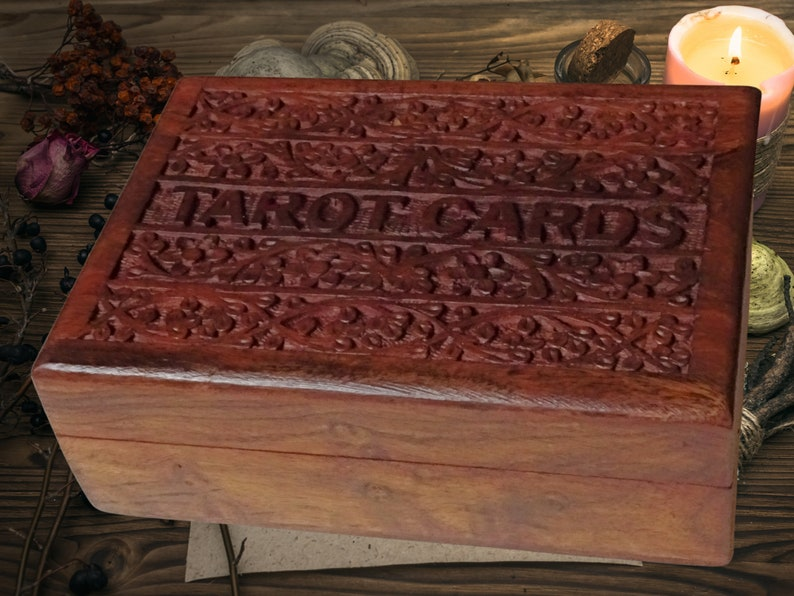 Hand-Carved Wooden Sheesham Tarot Card Box image 1