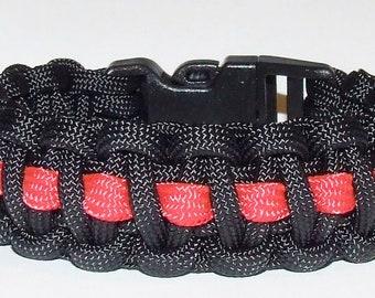 """Thin Blue Line /""""Backwood Paracord/"""" Survival Bracelet Police Law Enforcement"""