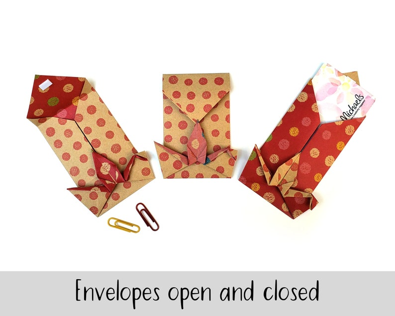 cute envelopes for thank you notes Handfolded Bird Envelopes for Gift Cards origami mini envelopes for Asian wedding thank yous