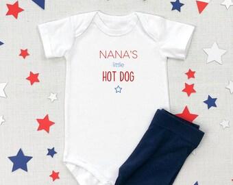 Nana's Little Hot Dog | Grandma | 4th of July | American | USA | Specialty Ethnic Onesie | Espea