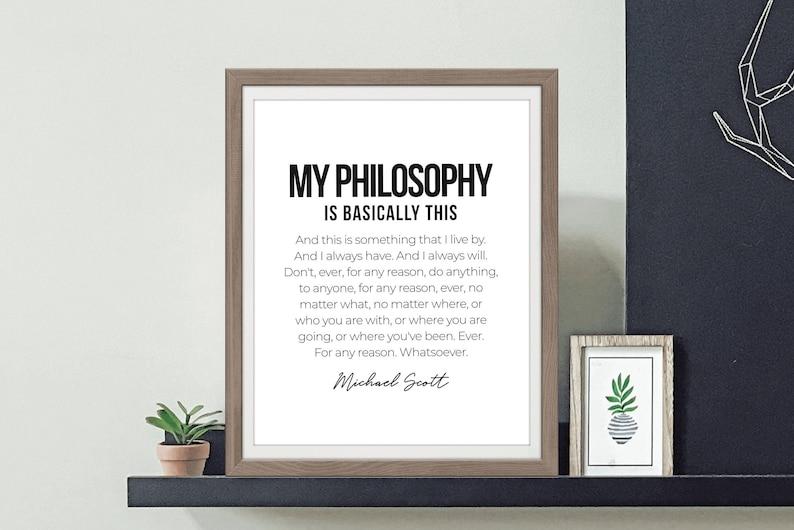 Michael Scott Quote My Philosophy Wall Art The Office Art ...