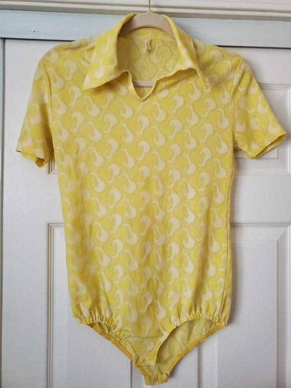 Lemon Yellow 60s/70s psychedelic print leotard