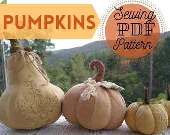 Pumpkin PDF Pattern 3 sizes - Plump Pumpkin Sewing PDF -  Sewing Pattern Patchwork Pumpkins - Pumpkin Pattern Instant Download