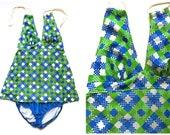 Vintage Two-Piece Bathing Suit Blue and Green Women 39 s Swimsuit 1960 39 s Vintage Swimwear Tankini Playsuit Checker Ginham Plaid Mod XXS