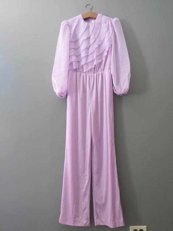 Vintage Purple Jumpsuit // Ruffled Polyester Pant… - image 4