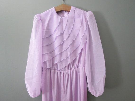 Vintage Purple Jumpsuit // Ruffled Polyester Pant… - image 2
