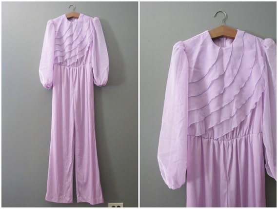 Vintage Purple Jumpsuit // Ruffled Polyester Pants