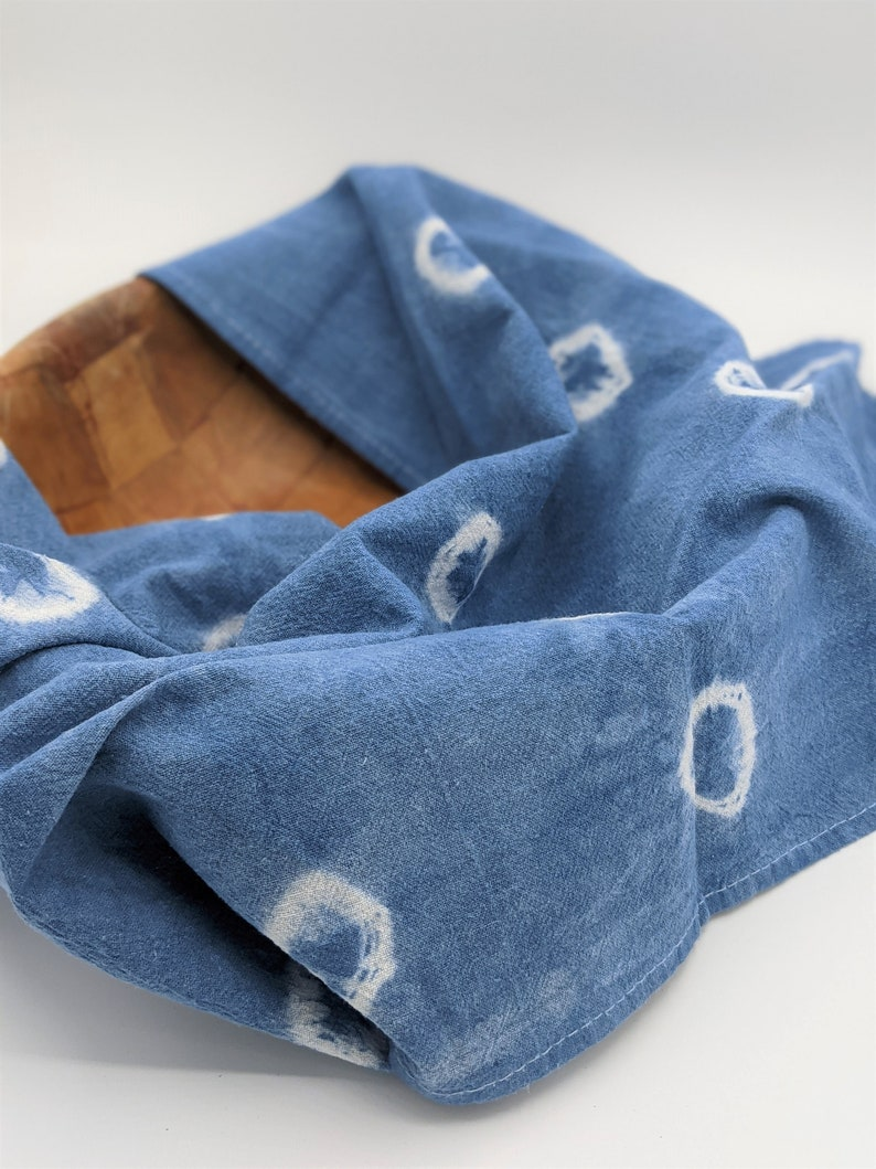 Shibori Indigo Blue Flour Sack Kitchen Towels Circles Pattern