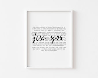 Fix You White Heart Song Lyric Quote Print