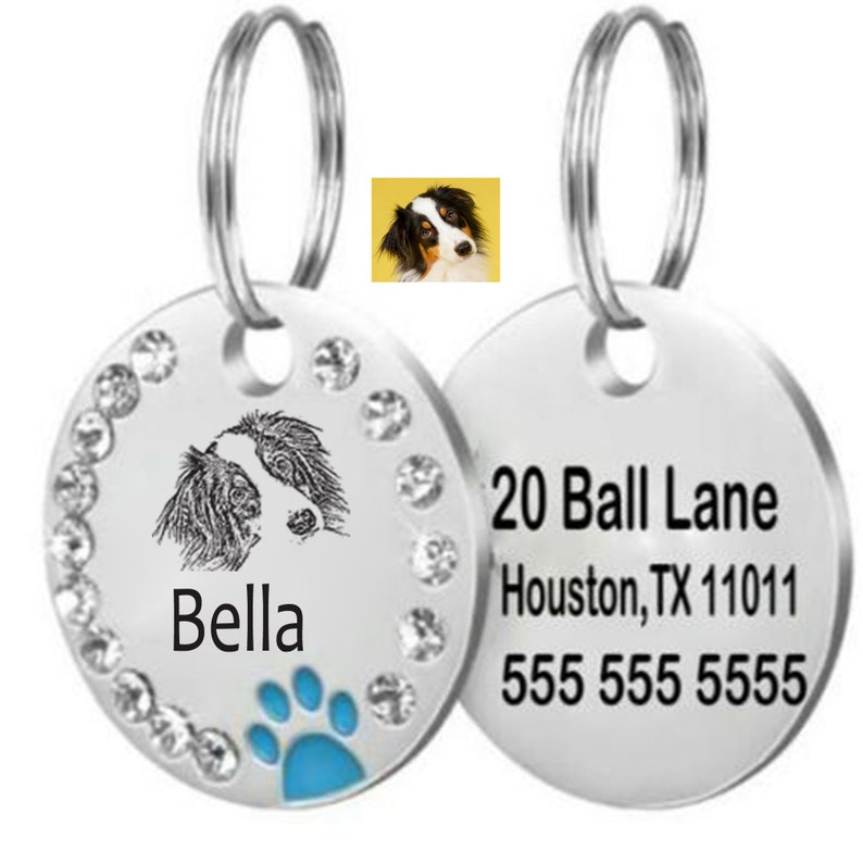 custom dog id tag SSC Rhinestone dog tag Pet tag Bling high grade stainless steel personalized Stainless steel pet tag IM1