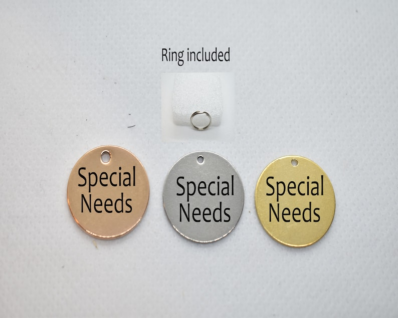 SSC Special Needs Custom Engraved stainless Steel Gold Silver Rose Gold Personalized pet ID tag Cats Dogs Special needs custom tag