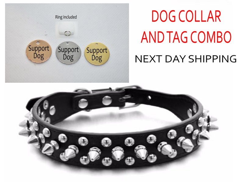 SSC Spiked leather collar for Small Medium Large dogs Engraved tag AZX12