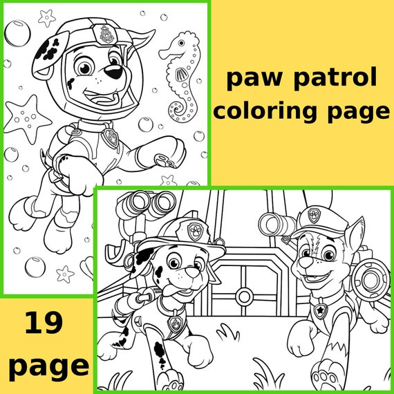 19 Assorted  Paw Patrol Printable Birthday Coloring page Puppy