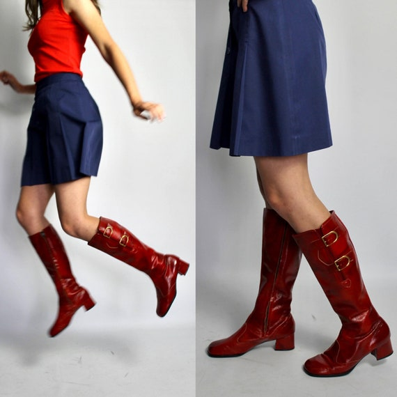 Original 1960s Red knee high boots