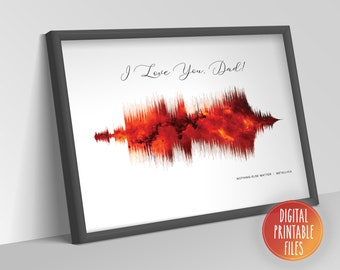 Personalized Soundwave Art for Dad favourite song, Father's gift, Printable digital poster, Instant download files, Custom wall decor