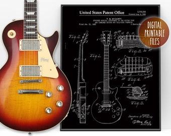 "Vintage Gibson ""Les Paul"" Guitar Patent drawing Poster, Digital Printable wall decor, Instant download files, Custom guitarist print gift"