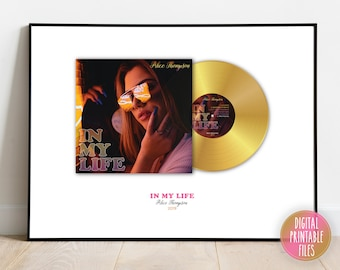 Your Music Gold LP Album Cover and Record Photo Poster, Printable digital, Songwriter Musician Personalized gift, Custom same day design