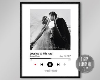 Custom Anniversary Photo Poster   Favourite song   Printable digital art   Instant download files   Personalized gift fiancé wife husband