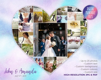 Wedding Photos Poster   Heart Collage Art   Printable digital download   First Dance gift   Personalized Anniversary gift   Custom heart art