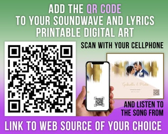 QR Code for Custom Sound Wave Printable Digital Art, Custom Design Services, Link to web source of your choice, Scan and play