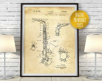 Saxophone Vintage Poster   Patent Drawing Digital Printable art   Instant download files   Custom music wall decor print   Gift for musician