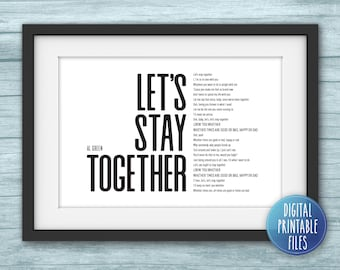 Personalized Lyrics Printable Art   Custom digital poster   Instant download files   Wall decor print   Favourite song   Let's Stay Together