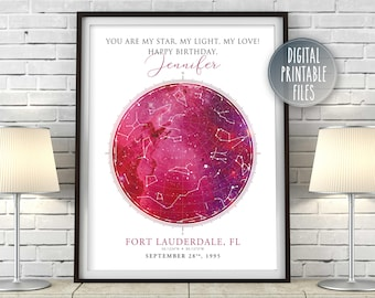 Happy Birthday Wife Star Constellation Map Art   Personalized digital printable poster   Custom Galaxy Chart   Instant Download files print