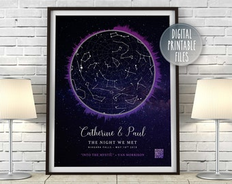 StarMap Soundwave Poster, Personalized Constellation Chart, Printable Digital Design, First Date Anniversary Gift, Favourite Song QR code