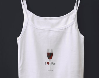 T-shirt with wine motif and spaghetti straps