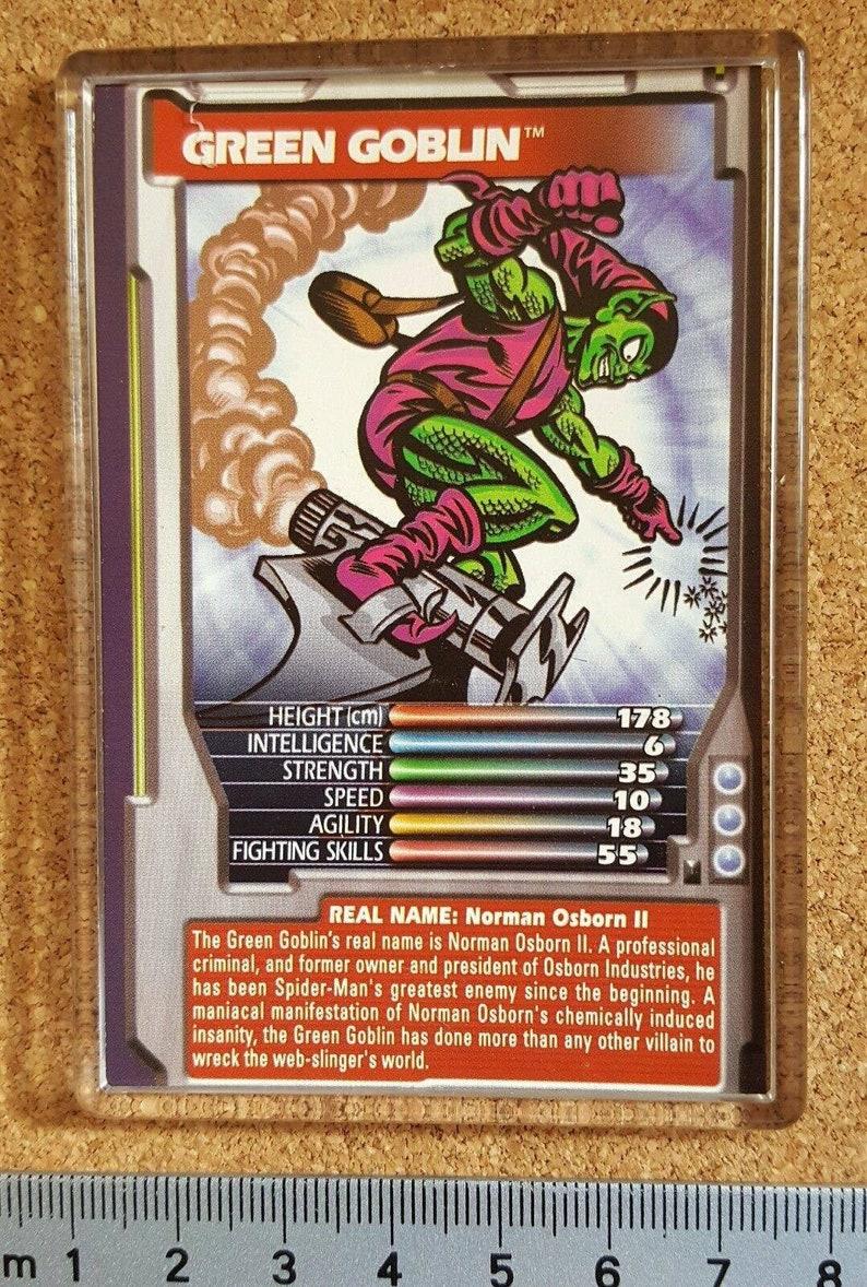 Marvel Comic Heroes Villains Top Trumps Card Fridge Magnet Green Goblin