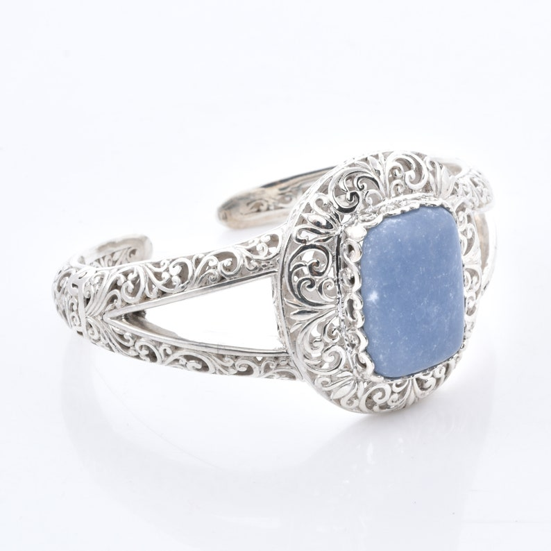 Clearance sale  Blue Opal 925 Sterling Silver bali  handcrafted Openable Bangle