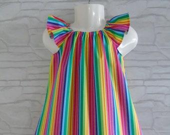 6months Handmade knitted rainbow baby dress