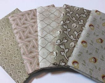 Set of 5 neutral tan in stock and ready to ship! beige fat quarters woven quilters cotton fabric