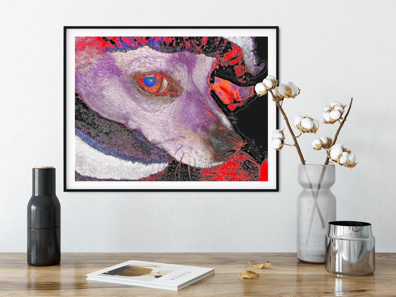 Curious Shy Chipin Dog Under Blanket Violet Red Black Large Wall Art Digital Download