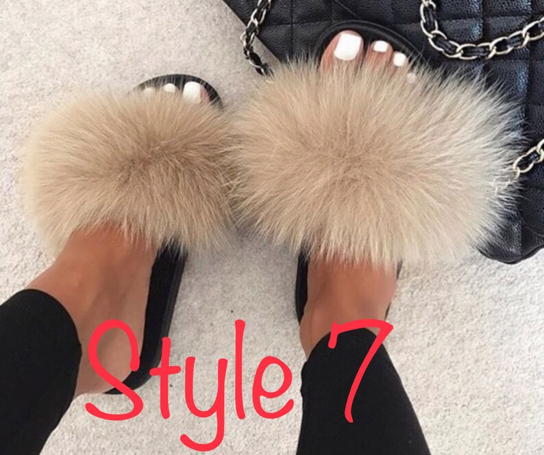 Women/'s Fluffy Real Raccoon Fur Outdoor Sandals Sliders Slippers Indoor Shoes