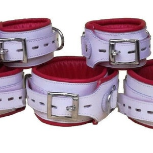 Details about  /Men Arm and Leg Binders 4 piece Real White Cow Leather Heavy Duty Bondage