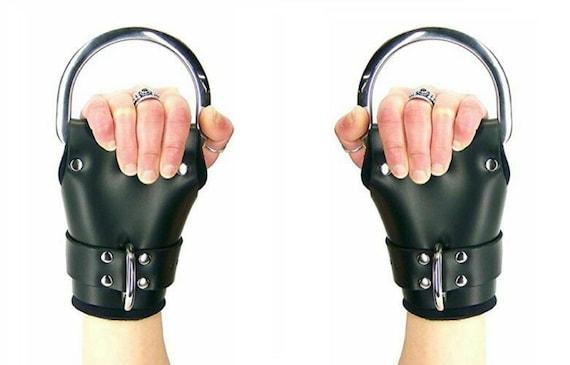 GENUINE LEATHER BONDAGE PADDED Wrist Suspension Cuffs