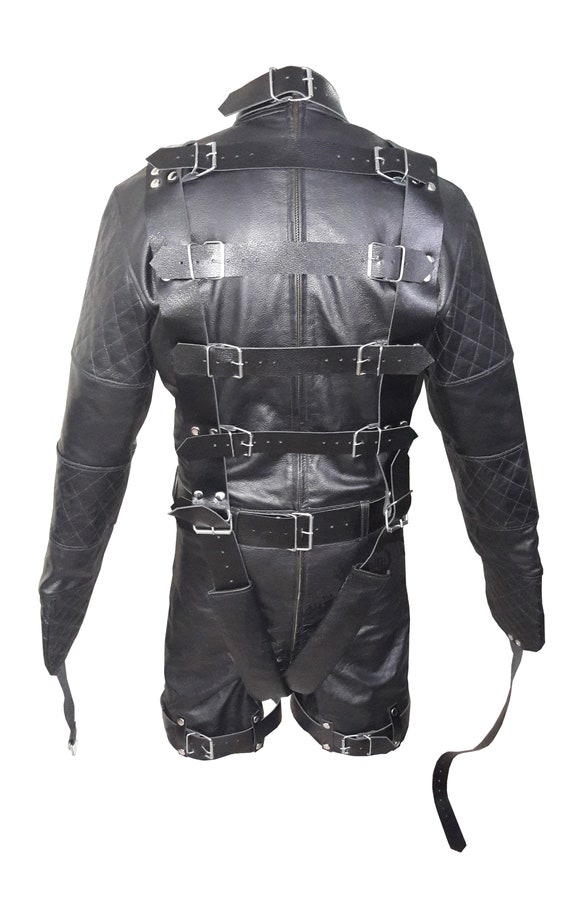 Real Mens Black Leather Chastity Bondage Shorts Locking REAR ZIP