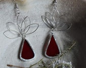 Recycled Red Stained Glass Lotus Earrings