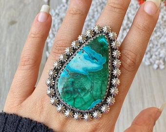 Azurite Malachite Ring # 925 Sterling Silver # Pear Stone Ring # Handmade Ring # Made For Her # Boho Ring # Beautiful ring # Birthday gift