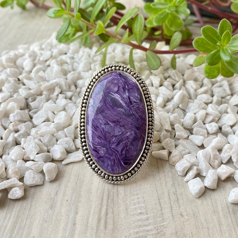 Charoite Ring Statement Jewelry Statement Ring 925 Sterling Silver Ring Gifts for her Birthstone Jewelry Boho Rings