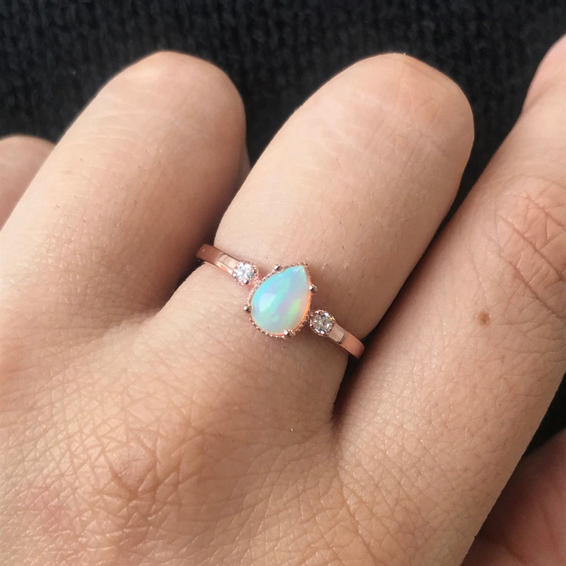 Opal Ring Opal Engagement Ring 925 Sterling Silver Opal Ring 14K Rose Gold Vermeil Opal Ring Gifts for Her Ethopian Fire Opal Ring