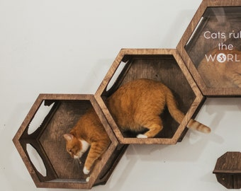 Cat Wall Furniture, Cat Shelves, Cat Hexagon Shelf, Cat Lover Gift, Cat Toys, Cat Wall Bed, Gift for Cat, Katzenmöbel by Catsmode