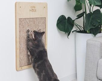 Cat Scratch Board, Wall Cat Scratcher, Scratching Post for Kitten, Wood Scratch Post by Catsmode, Cat Wall Furniture, Cat Gifts