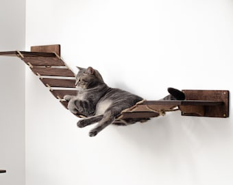 Cat Bridge for Wall, Cat Play Furniture, Cat Ladder, Christmas Gifts for Cat Lovers, Cat Wall Bed, Cat Floating Shelves, CatsMode