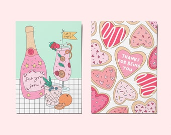 A6 Colourful Kindness Social Distancing Friendship Relationship Postcards | Thank You | Miss You | Individual, Pack of 2 or Bundle of 5