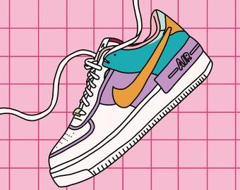 Nike Air Force 1 Shoe Illustration. Pink Fashion Style 20x20cm A4 Print.